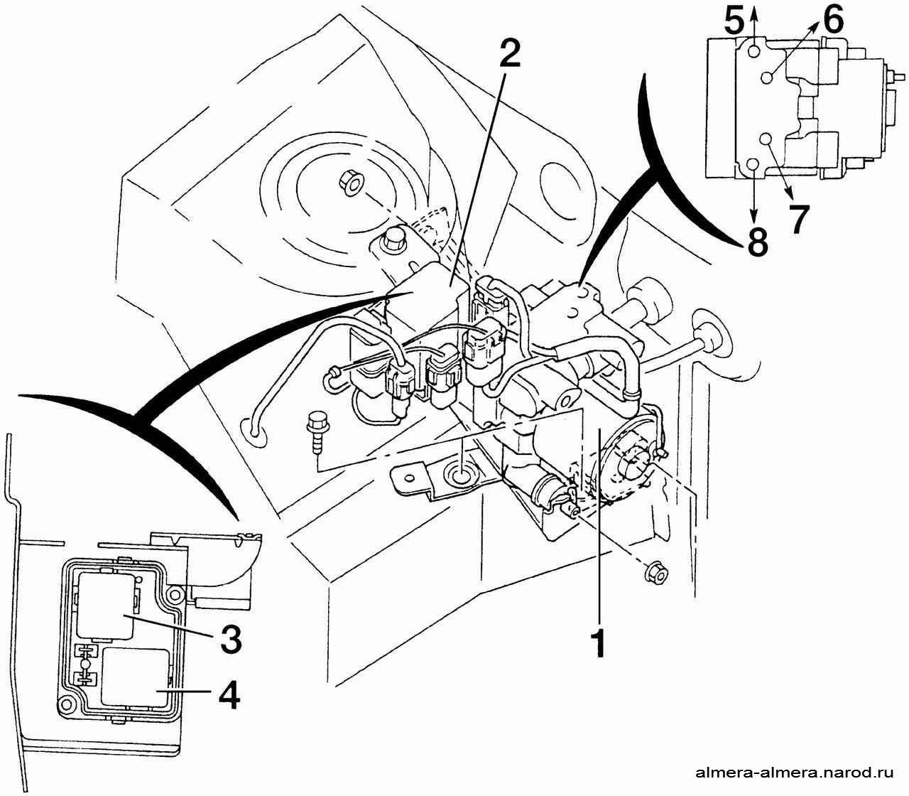 ...4 - реле включения насоса; штуцеры подсоединения тормозных механизмов колес: 5 - переднего левого; 6...