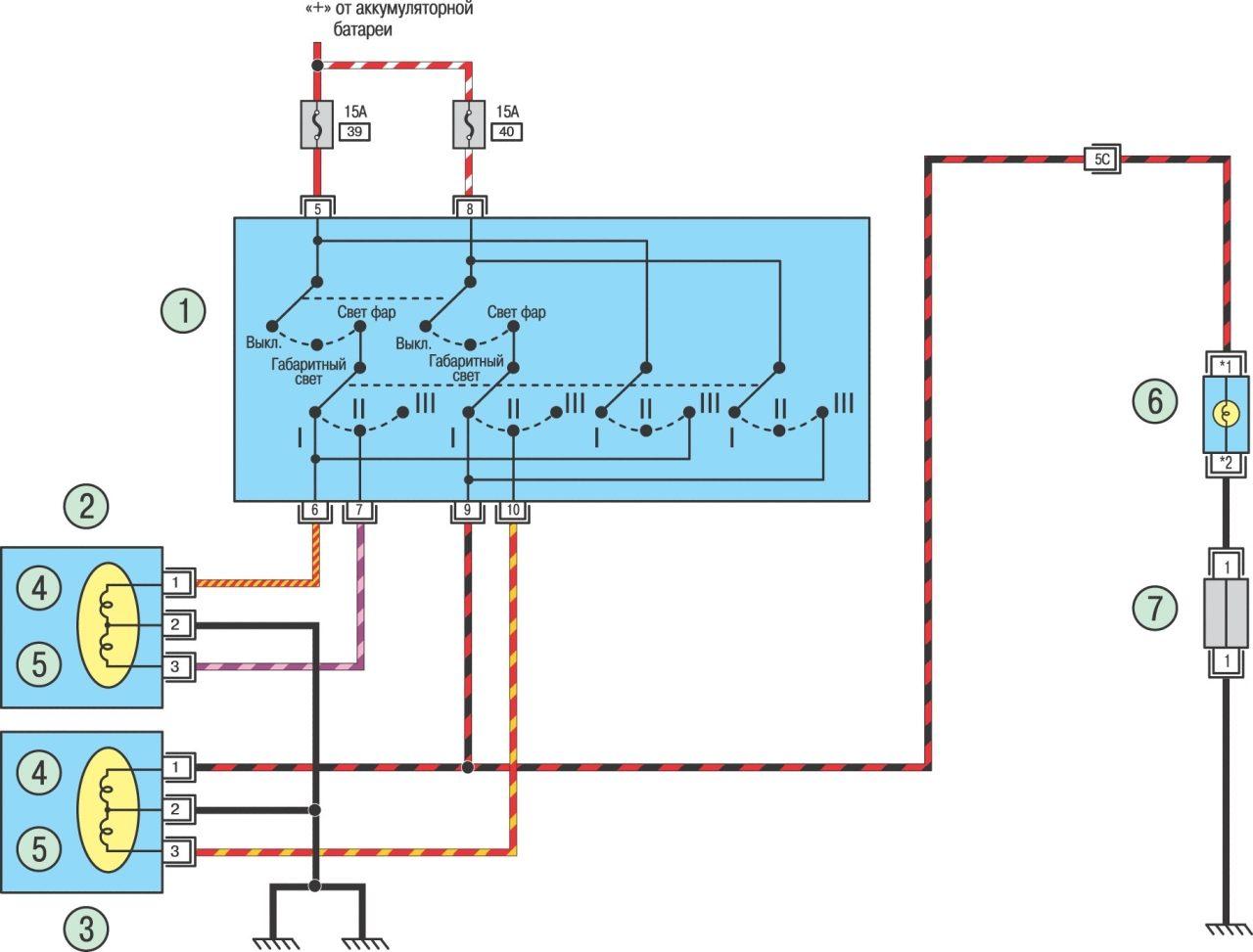 Схема включения света фар Nissan Almera.